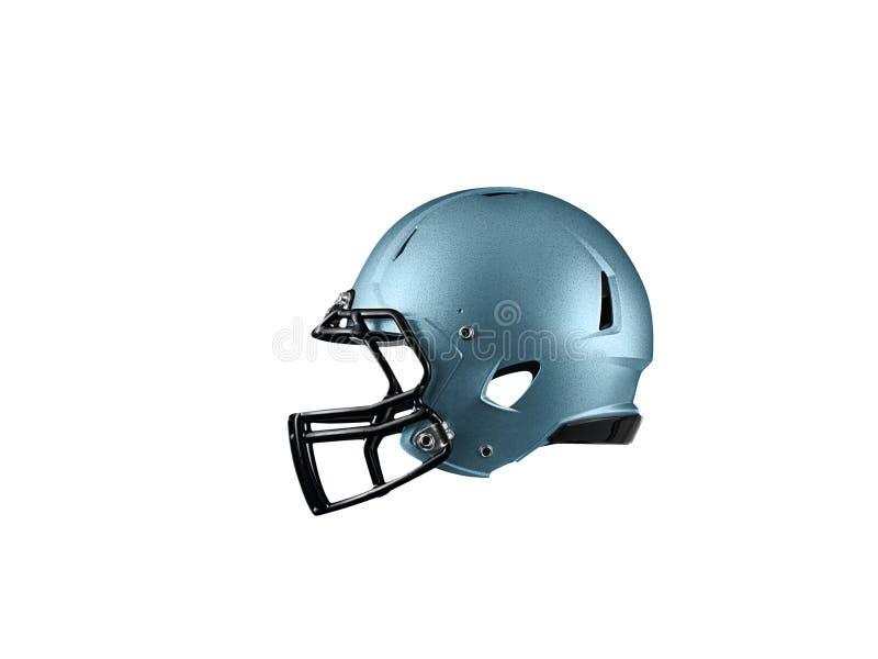 Blue Football Helmet on white royalty free stock image