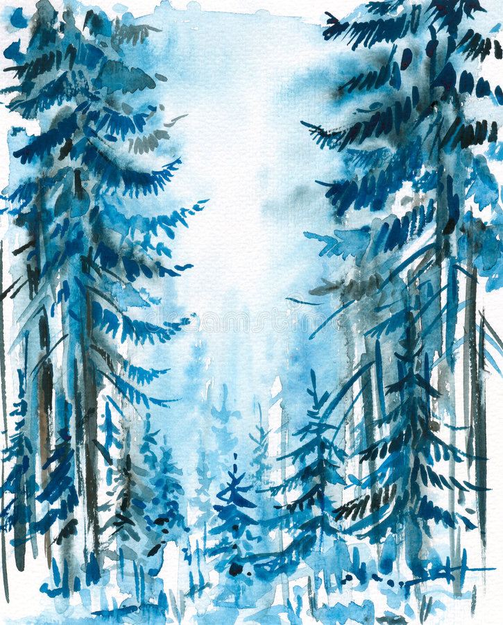 Blue forest royalty free illustration