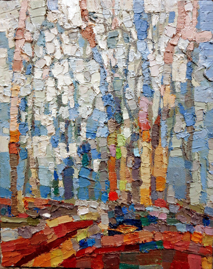 Blue forest abstract acrylic oil closeup texture painting. stock photo