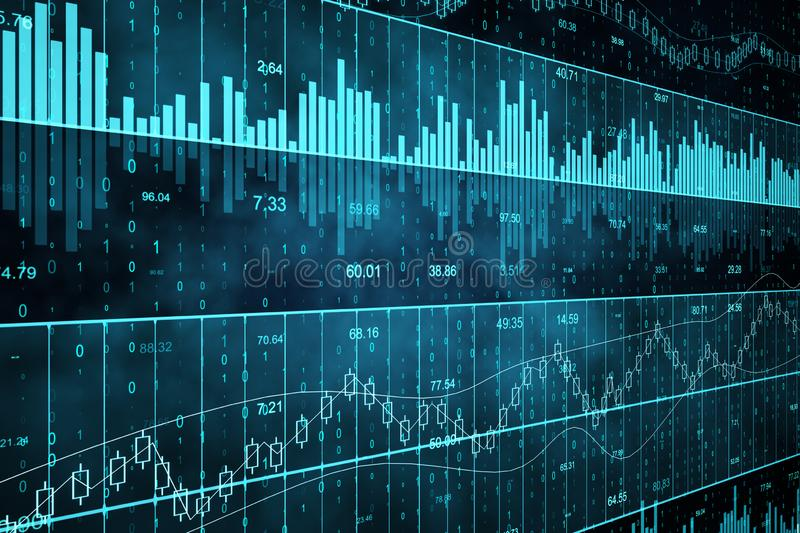 Blue forex chart. Grid background. Invest and stats concept. 3D Rendering royalty free illustration