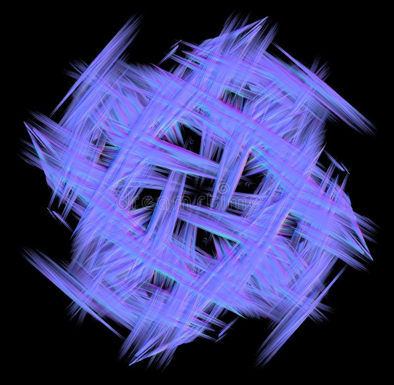 Blue fractal abstaction on a black background stock photography
