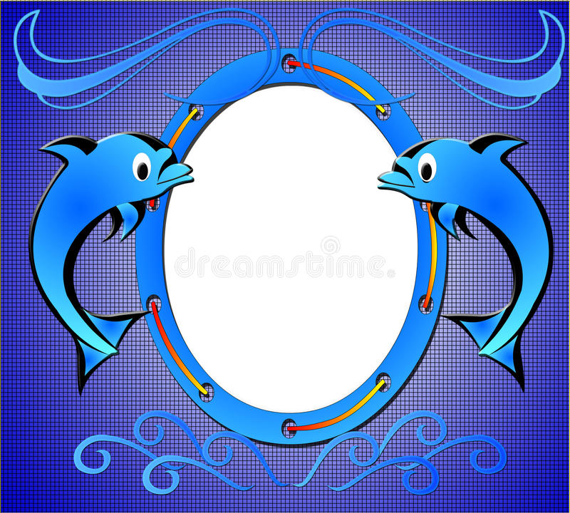 Blue frame for photo. With dolphin royalty free illustration
