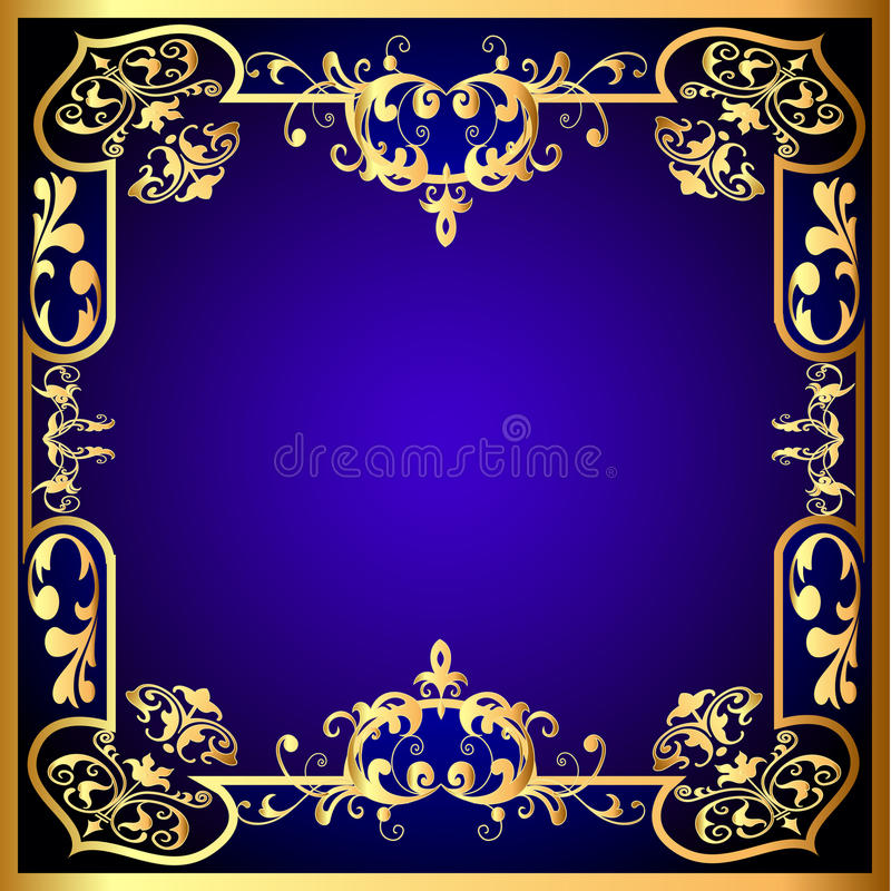 Download Blue Frame With Vegetable Gold(en) Pattern Stock Vector - Image: 24664560