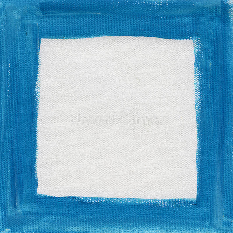 Blue frame on white canvas royalty free stock images