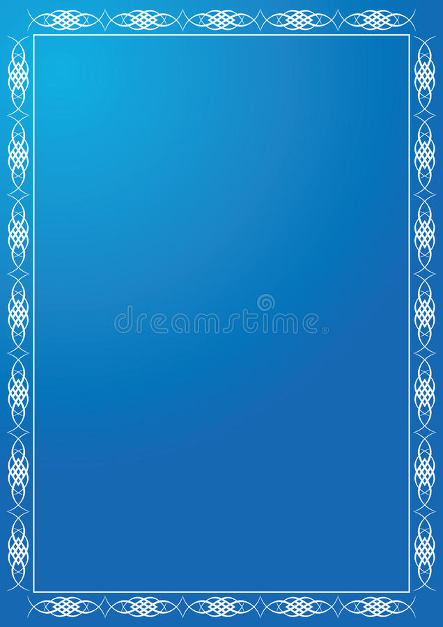 Blue Frame With White Tracery - Vector Stock Images