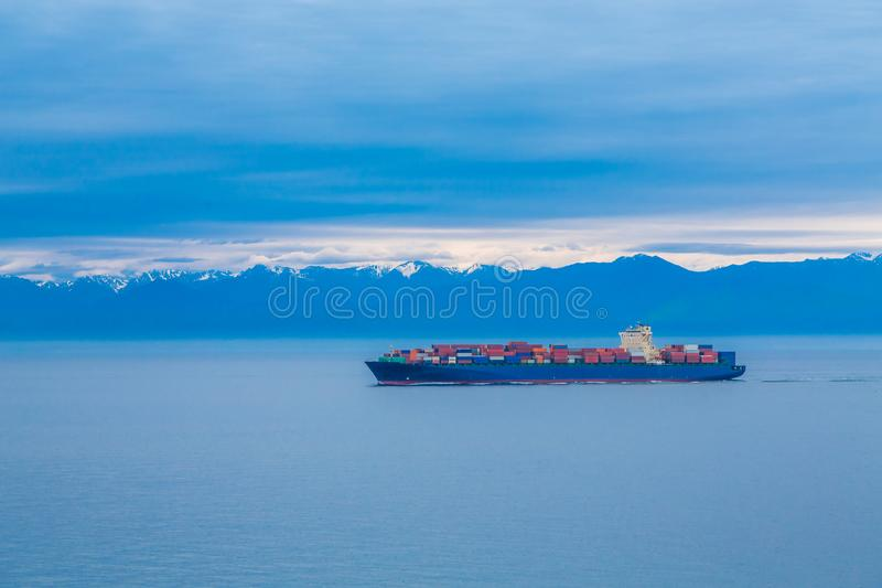 Blue Freighter on Blue royalty free stock image