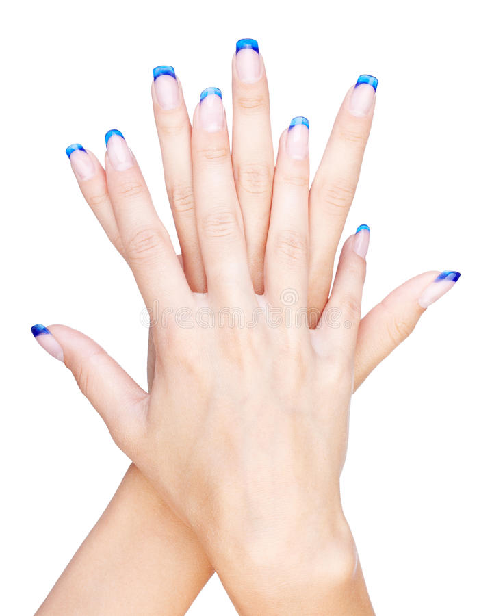 Blue french manicure stock photos