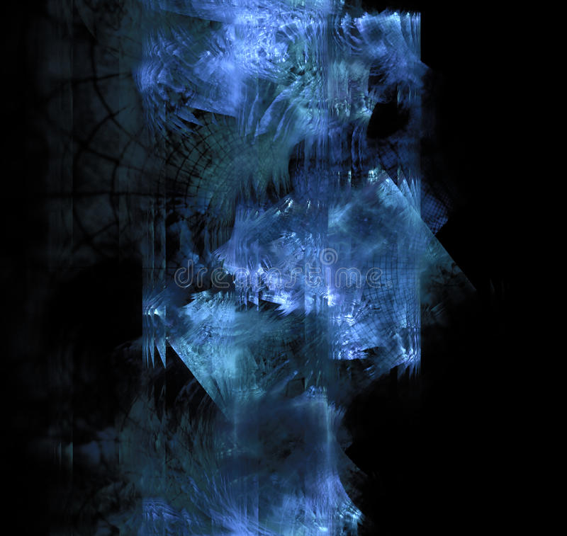 Blue frost exploding on dark glass. Black abstract background w. Ith triangle fractal texture. Turquoise crushed ice crystals in 3d space royalty free illustration