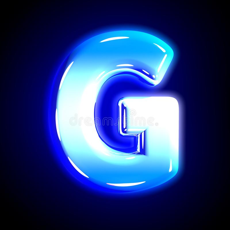 Blue frosty snow creative glowing font - letter G isolated on solid black background, 3D illustration of symbols. Frozen ice letter G of glow festive blue royalty free illustration