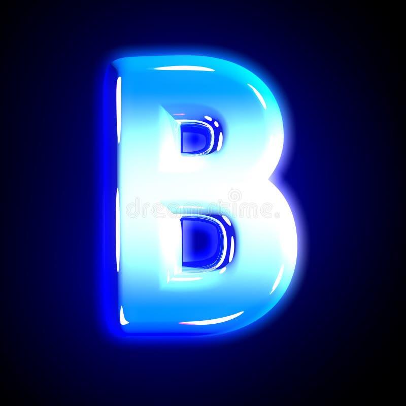 Blue frosty snow creative shine alphabet - letter B isolated on solid black background, 3D illustration of symbols. Frozen ice letter B of shine festive blue vector illustration