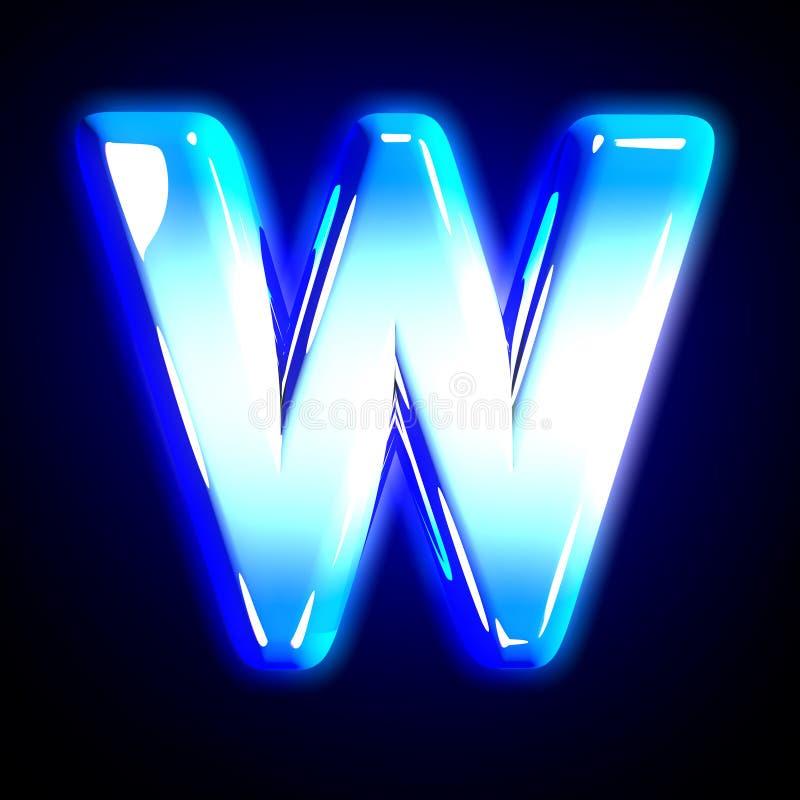 Blue frosty snow design shine font - letter W isolated on solid black background, 3D illustration of symbols. Frozen ice letter W of shine festive blue shine royalty free illustration