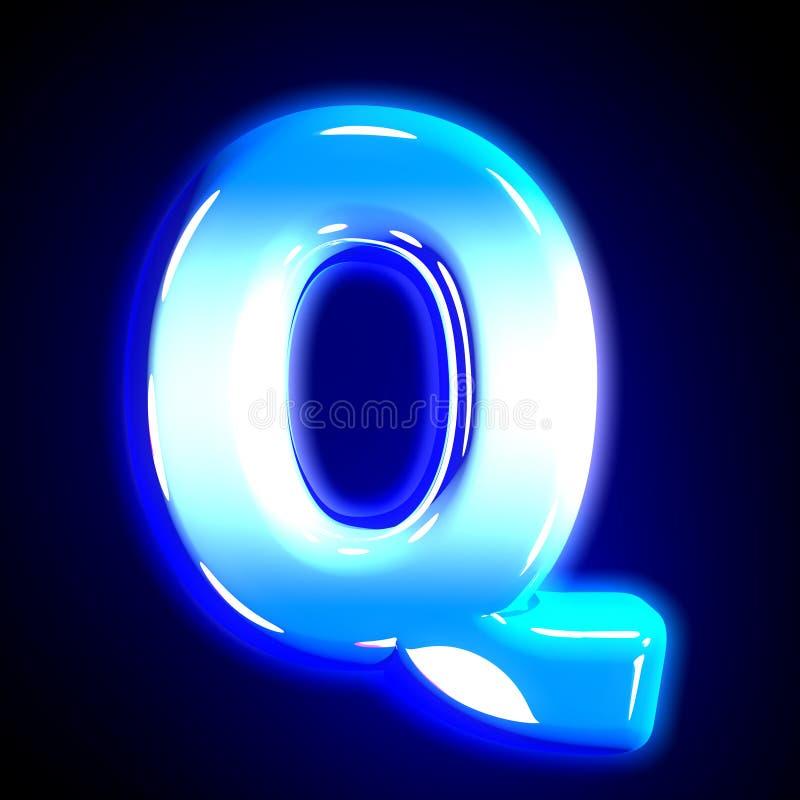 Blue frosty snow design shining alphabet - letter Q isolated on solid black background, 3D illustration of symbols. Frozen ice letter Q of glow festive blue vector illustration
