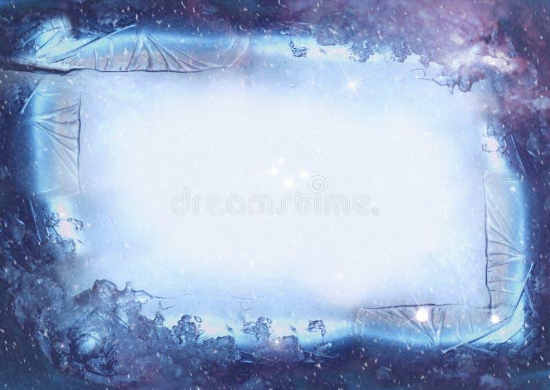Blue frozen rectangular ice frame stock photos
