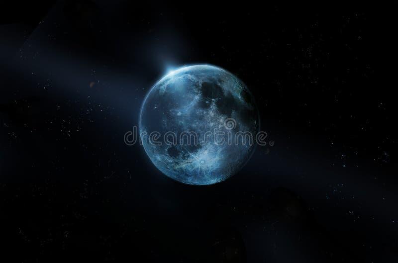Blue full moon on all stars at night, Original image from NASA stock photography