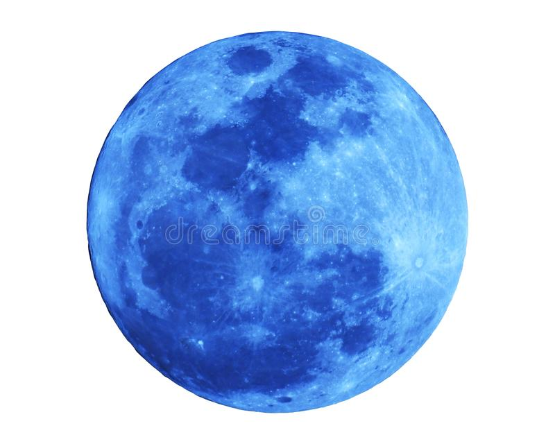 Blue full moon isolated on white background with Clipping Path royalty free stock photography