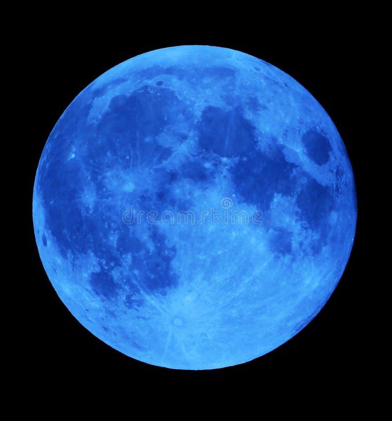 Blue full moon at night in dark sky.  stock photography