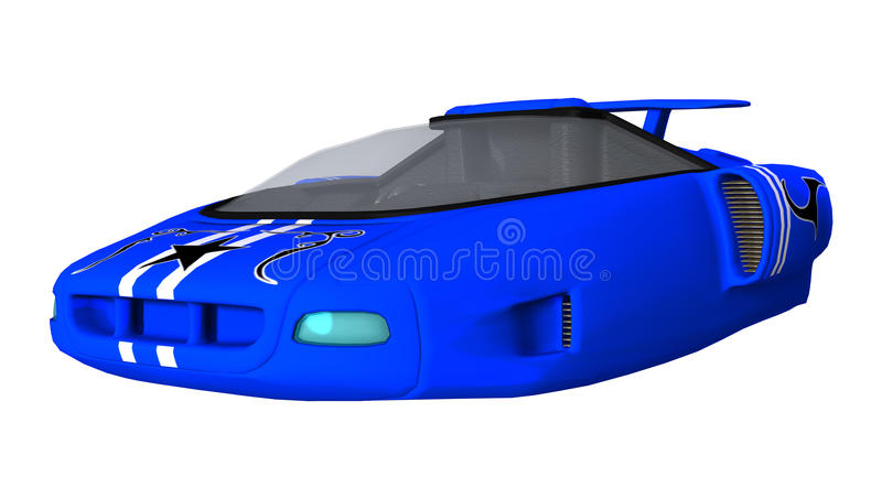 Blue Futuristic Car. 3D digital render of a blue futuristic car isolated on white background stock illustration