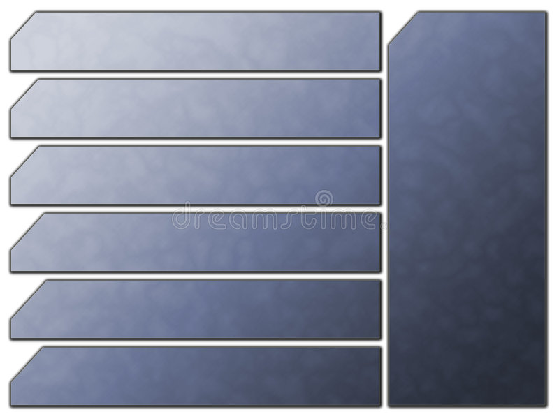 Blue Futuristic Website Navigation Stone Buttons Stock Photography