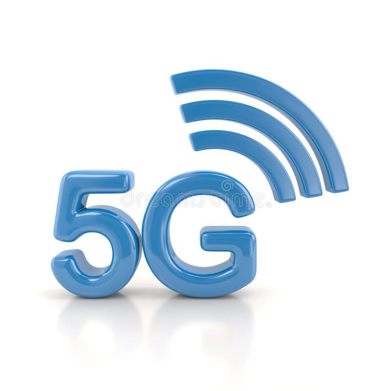 Blue 5g wireless network icon 3d illustration stock illustration
