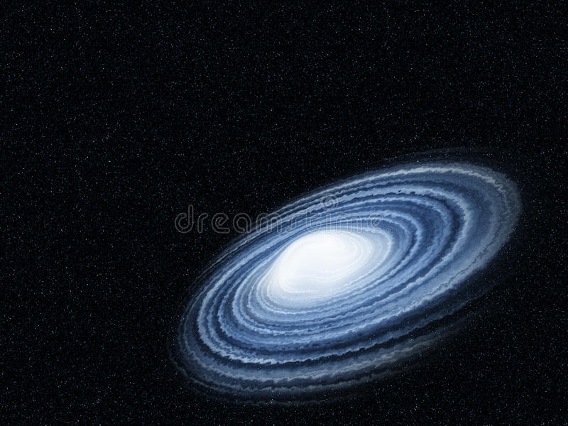 Blue galaxy. Twist with cloud in the universe royalty free stock photography