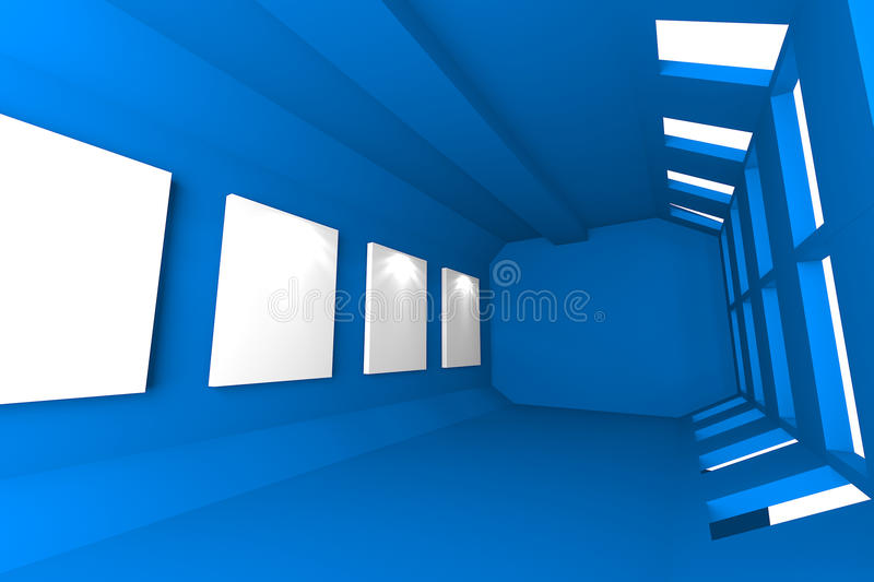 Download Blue Gallery Abstract Interior Stock Illustration - Illustration: 32439724