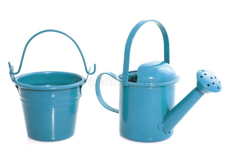 Blue garden equipment stock images