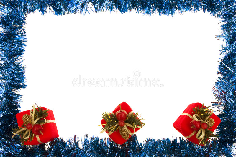 Blue Garland with Gifts royalty free stock photography