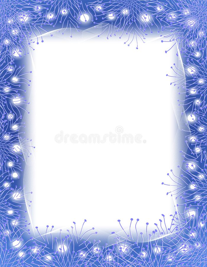 Blue Garland and Lights Border royalty free stock images