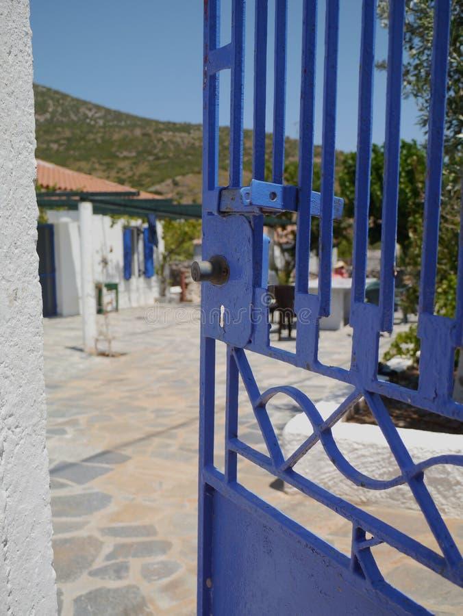 Blue Gate - Greek house in Euboea. Blue Gate - Greek house in Evia Euboea stock images