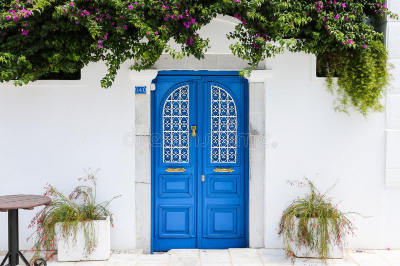 Blue gate of a house in Bodrum, Turkey royalty free stock photos
