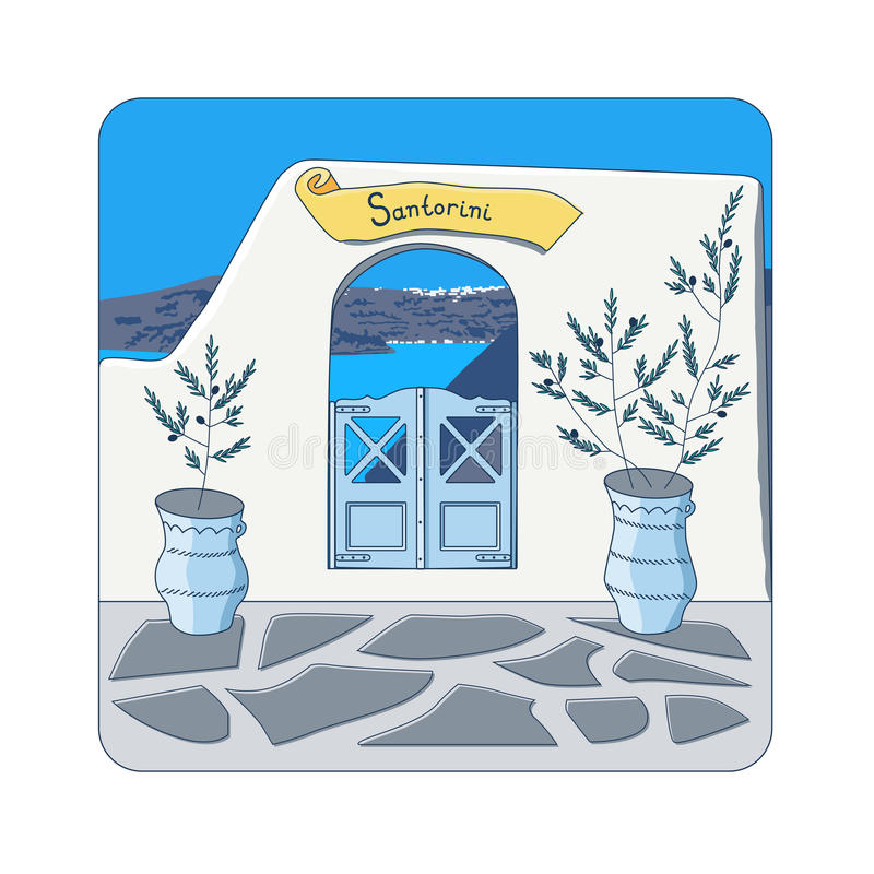 Blue gate at Santorini island in Greece. Blue gate in the wall and olive trees in the pots at Santorini island in Greece vector illustration royalty free illustration