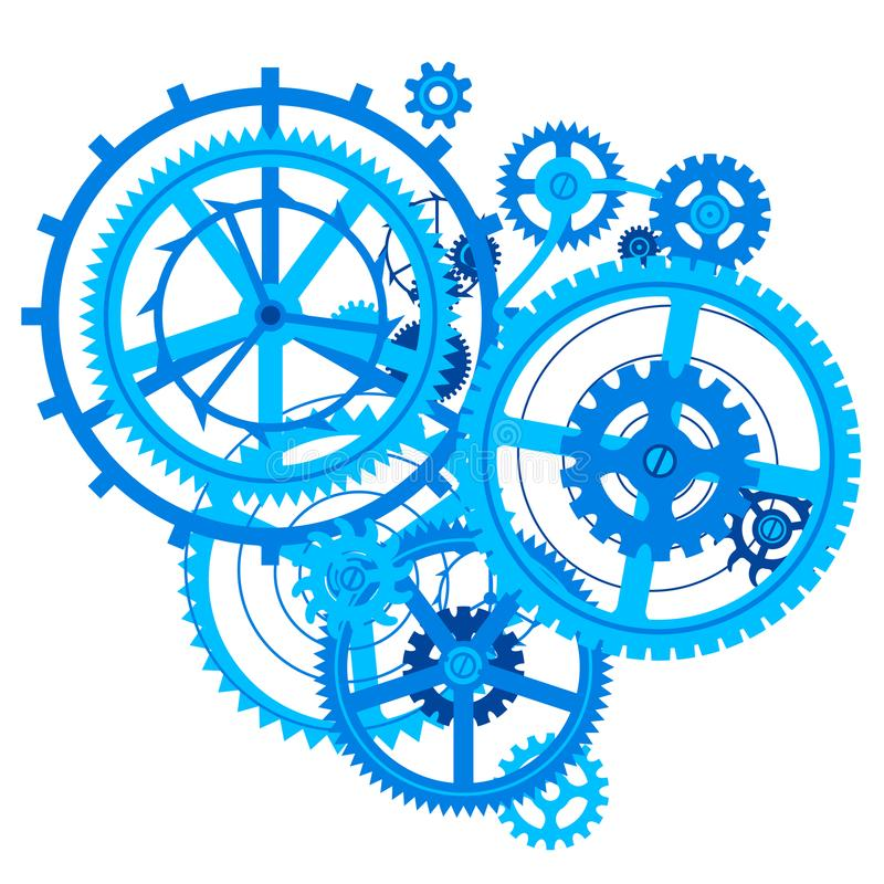 Blue gear wheels in flat style isolated on white stock illustration