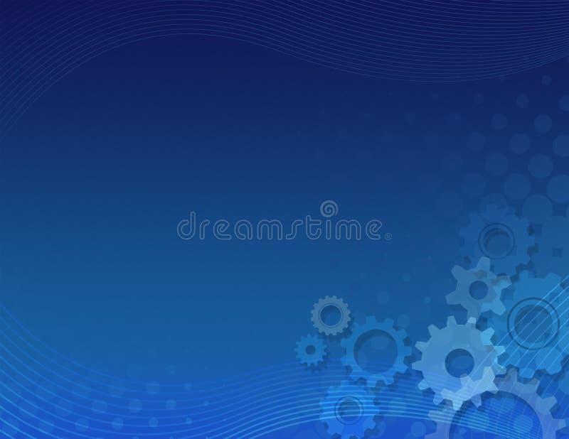 Blue gears background stock illustration