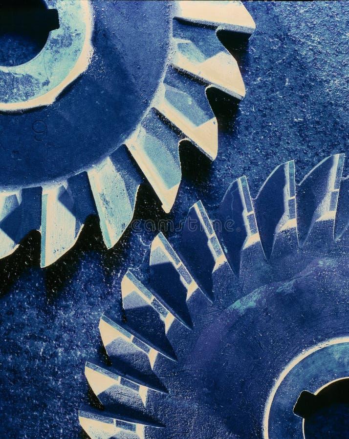 Blue Gears cross processed stock photo