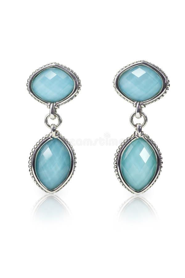 Free Blue Gemstone And Diamond Earrings Stock Photos - 40175493