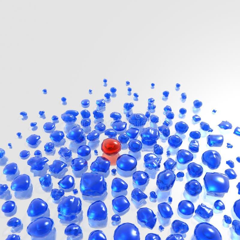 Download Blue Gemstones With Single Red One Stock Illustration - Illustration: 8412773