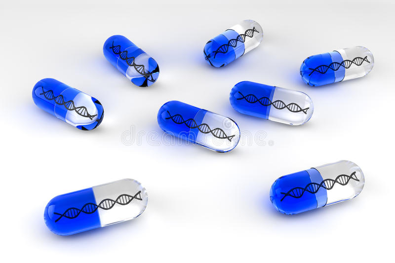 Blue Gene Therapy Pills stock illustration