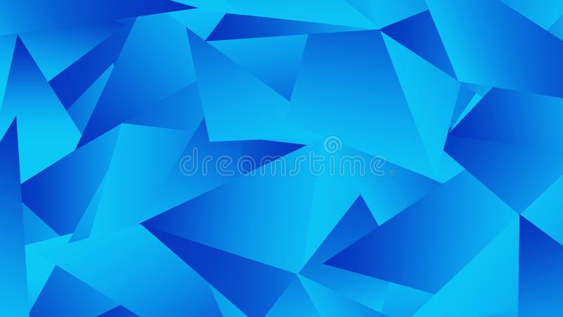 Blue geometric abstract chaotic triangle pattern background ..Sci fi background royalty free illustration