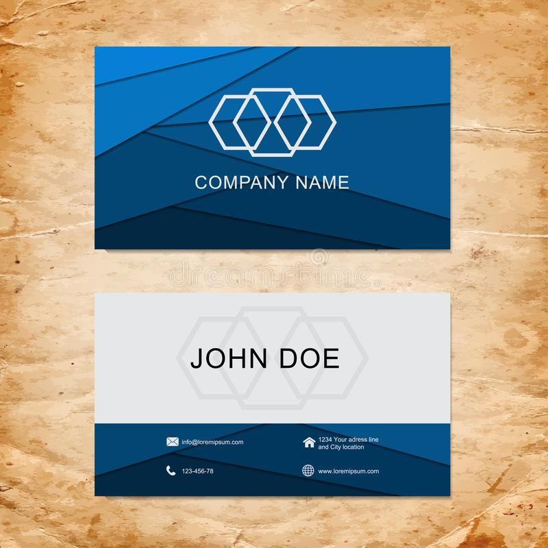 Blue geometric business card design template on paper royalty free illustration