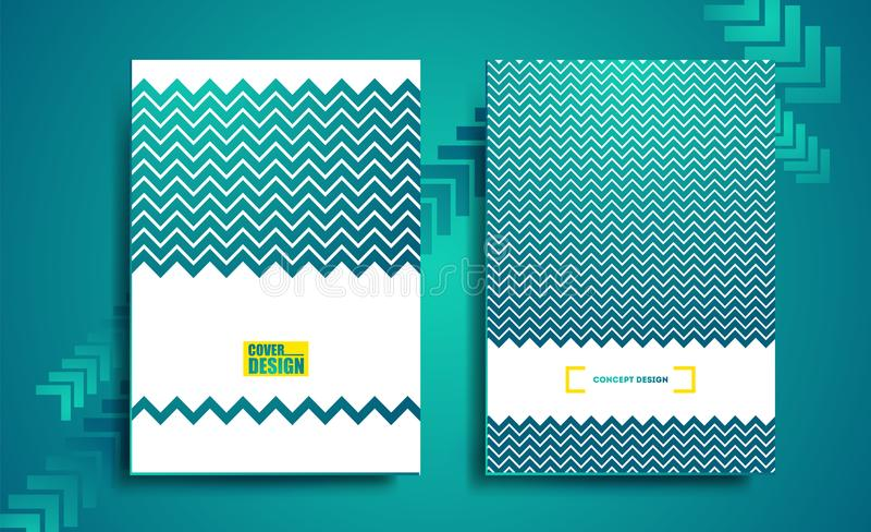 Blue geometric flyer, cover business stock illustration