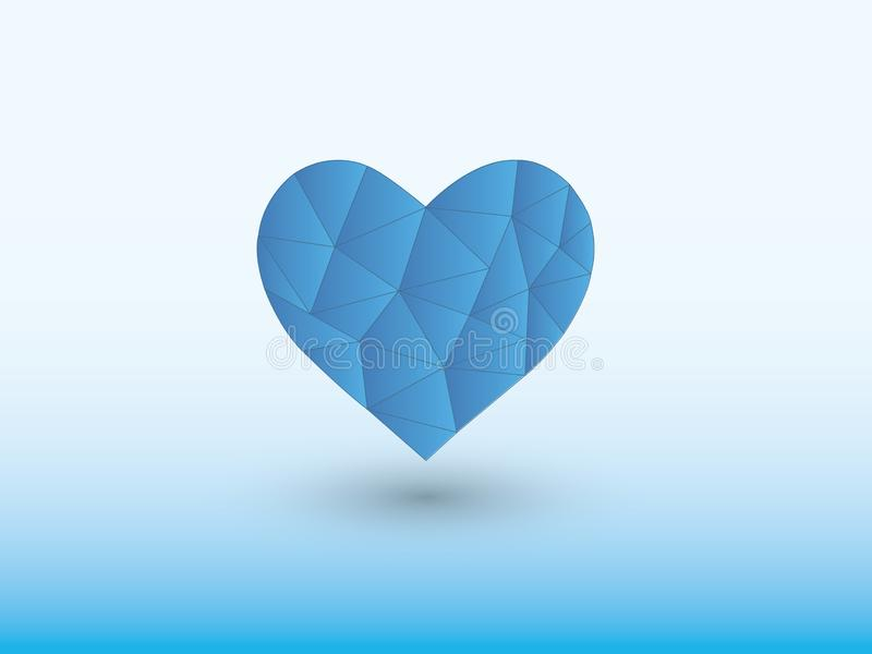 Blue geometric heart shape of making love with shadow on light background. Vector illustration royalty free illustration
