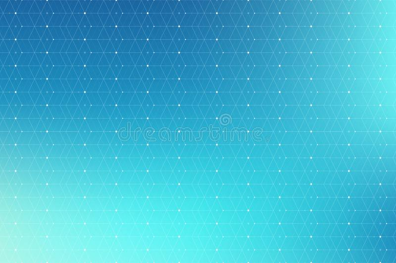 Blue geometric pattern with connected lines and dots. Graphic background connectivity. Modern stylish polygonal backdrop. Communication compounds for your stock image