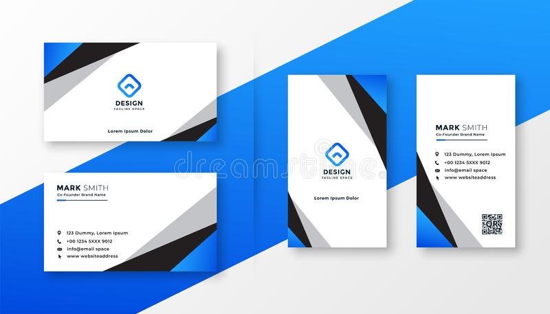 Blue geometric professional business card design vector illustration