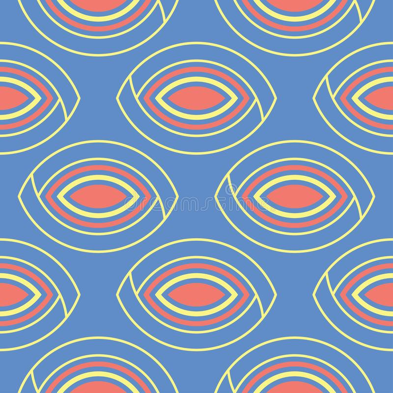 Blue geometric seamless background. Bright multi colored design with red and yellow pattern vector illustration