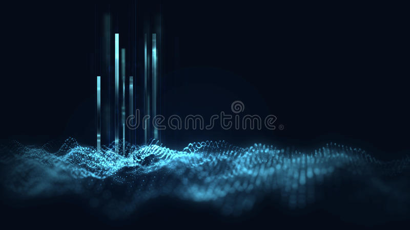 Blue geometric shape abstract technology background stock illustration