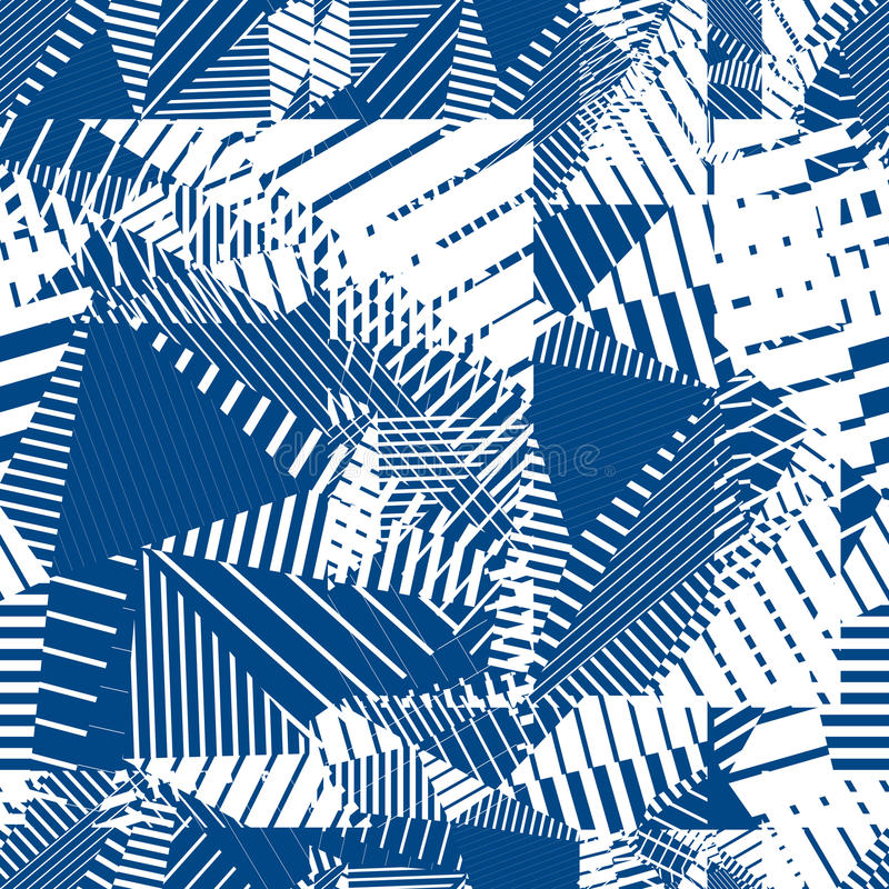 Blue Geometric Tiles Seamless Pattern, Single Color Vector Mosai ...