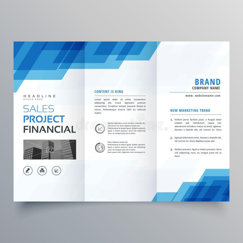Blue geometric trifold business brochure design template stock illustration