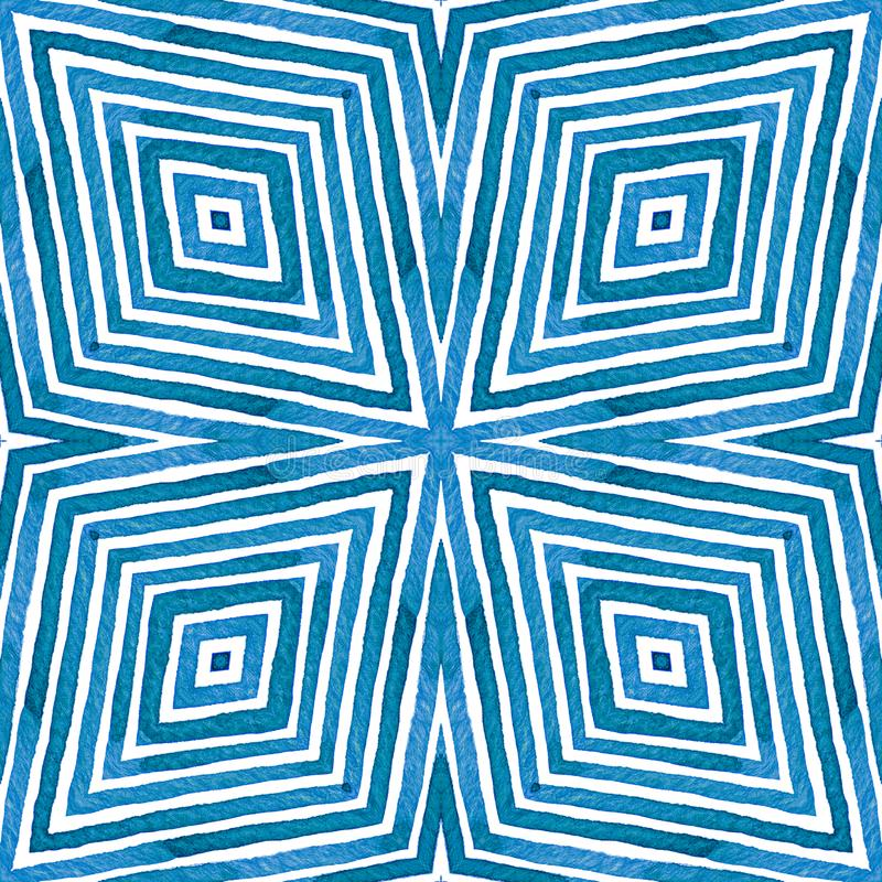 Blue Geometric Watercolor. Alive Seamless Pattern. Hand Drawn Stripes. Brush Texture. Admirable Chevron Ornament. stock image
