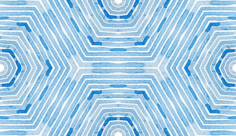 Blue Geometric Watercolor. Curious Seamless Patter stock illustration
