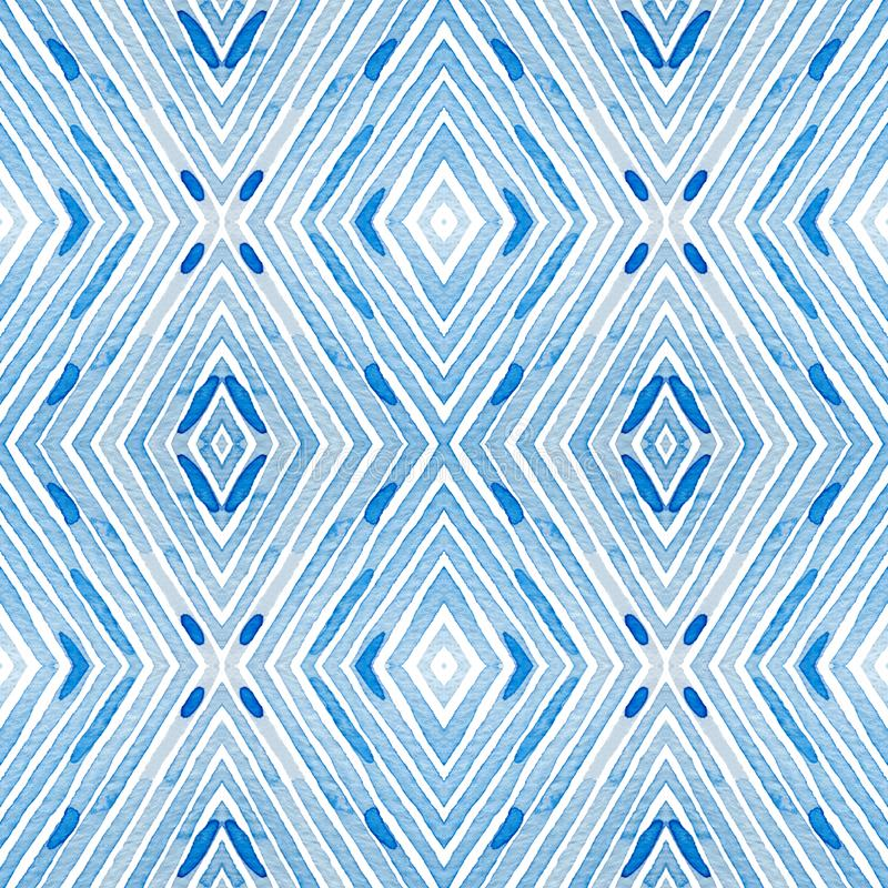 Blue Geometric Watercolor. Curious Seamless Pattern. Hand Drawn Stripes. Brush Texture. Lovely Chevr royalty free illustration